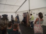 Image of the crowd gathering in the marquee just before the workshop starts